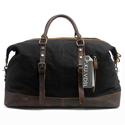 P.KU.VDSL borsa continentale, borse di tela casuali, borse da donna, borse a tracolla (Nero - Impermeabile)