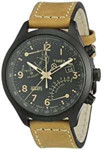 Timex Men's T2N700 Intelligent Quartz Watch with Black Dial Fly-Back Chronograph Display and Beige Leather Strap