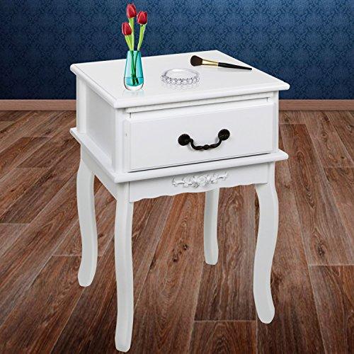 Kesser® Nachttisch Nachtschrank Kommode Nachtkommode mit 1 Schubladen Barock LANDHAUS Ablagetisch Farbe: Weiß, Modell :KE-NT-NR