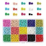 Phogary 9000 Piezas de Perlas de Vidrio, Perlas espaciadoras de Pony pequeño, 3 mm Redondo para Manualidades (15 Colores)