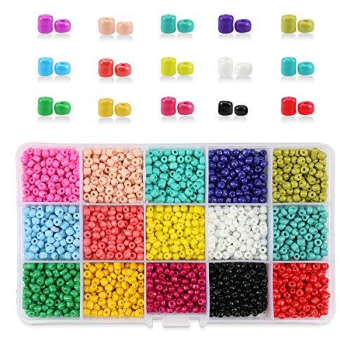 e2c731348bb7 Phogary 9000 Piezas de Perlas de Vidrio, Perlas espaciadoras de Pony  pequeño, 3 mm Redondo para Manualidades (15 Colores)