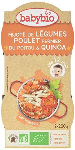 Babybio Bols Mijoté de Légumes Poulet Fermier du Poitou/Quinoa 2x200 g
