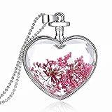 Relovsk Collar De Joyas Regalo De San Valentín Regalo De San Valentín Rosa Colgante De Flores Secas Collar De Cristal De Europa Y América