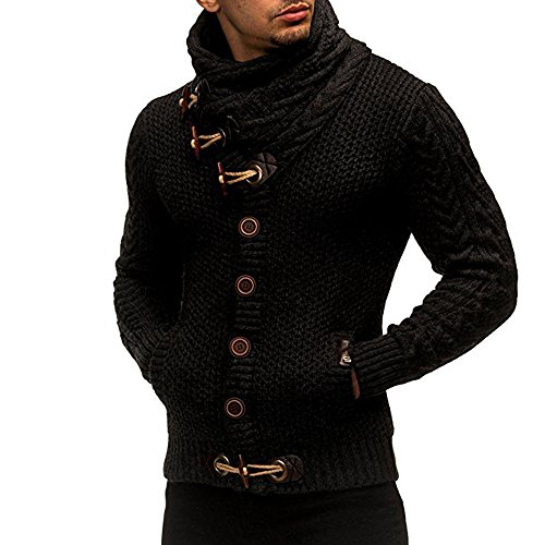 FORH Herren Strickpullover Klassisch Vintage Stricken Rollkragenpullover Winter Casual Strickjacke Mantel Hoch wertiger Taste Kapuzenpullover Winter Mode Sweater Cardigan Outwear (M, Schwarz) -
