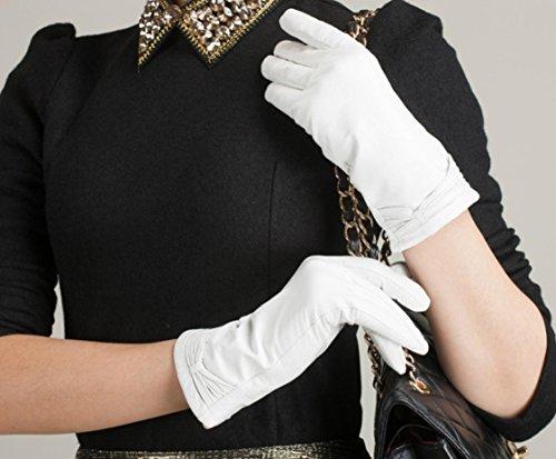 GQQgloves Femmes Cuir Mouton Gants chauds Paragraphe court Élégant Gris Bleu Blanc Rouge Rose Violet Khaki Noir white