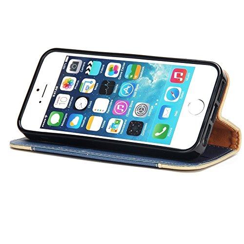 JIALUN-Telefon Fall Mit Kartensteckplatz, Lanyard, geprägte Mode Open Handy Shell für IPhone 5 & 5s & SE ( Color : Gold ) Blue