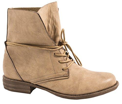 best-boots Damen Stiefelette Boots Worker Stiefel Khaki 2