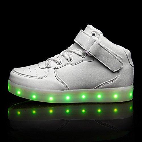 Warmhouse LED Unisex Schuhe 7 Farbe USB Aufladen Leuchtend Sportschuhe High-Top Sneaker Turnschuhe für Kinder Erwachsene Damen Herren Weiß