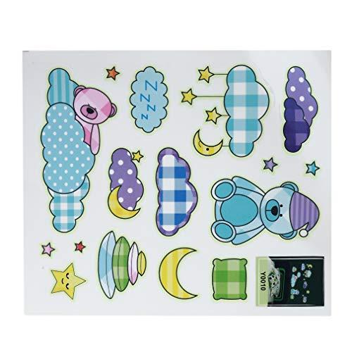 WEIHEEE Nette Schlafbär Aufkleber Raum Cartoon Fluoreszierende Aufkleber Mode DIY Kunst Kombination Aufkleber für Wohnzimmer