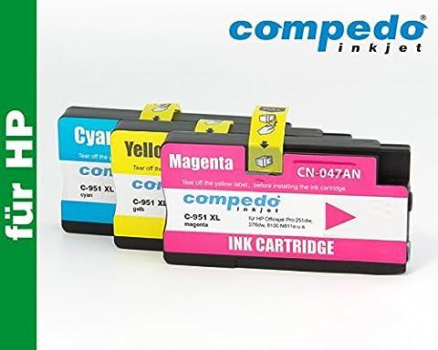 Compedo Premium XL-Color-Multipack 3er CMY (3 x 26 ml) mit Chip und Füllstandsanzeige ersetzt HP Nr. 951XL für HP Officejet Pro 251dw, 276dw, 8100 N811a, 8600 N911a, 8600 Plus N911g u. a.