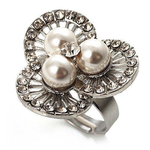 3 petali, con perle-Anello da Cocktail con fiore (Wedding Pearl Tema)