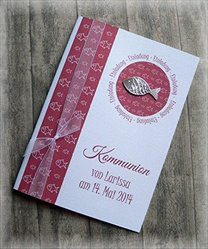 Einladung Einladungskarte Kommunion Konfirmation Taufe Fisch silber dunkelrot
