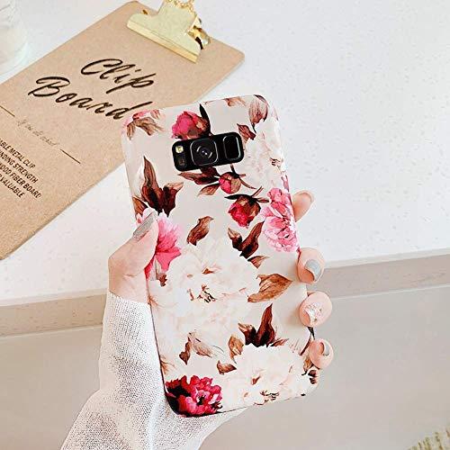 Herbests Kompatibel mit Samsung Galaxy S8 Plus Hülle Silikon TPU Handyhülle Mode Blätter Blume Muster TPU Silikon Case Cover Tasche Schutzhülle Kristall Ultra Dünn Stoßfest Hülle,Rose Blumen