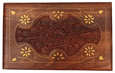 100% Wooden Jewellery Box with Lid – Premium Quality 20.3 cm large Brass Inlay Box Handmade / Decorative Box / Treasure Chest / Keepsake Box from India - Antique Look Multipurpose Rosewood Box