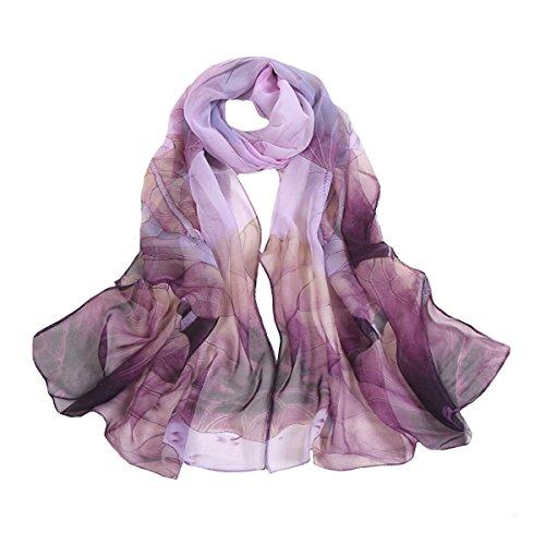 Sherry Fashion Damen Kopftuch mit Blumenmuster, leicht, Sonnenschutz, Abendkleid - Violett - Einheitsgröße Georgette Poncho