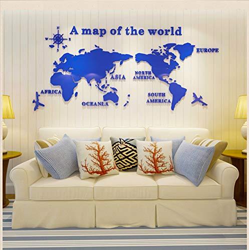KaiXINSun Spiegel Wandaufkleber Selbstklebende 3D Acryl Weltkarte Kristall Stereo Wandtattoos Studie Büro Inspirierende Sofa Veranda Wandbild 120X54 cm Blau