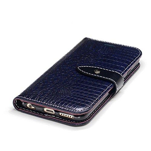 Trumpshop Smartphone Case Coque Housse Etui de Protection pour Apple iPhone 6 Plus / iPhone 6s Plus (5.5-Pouce) [Noir] Motif Peau de Crocodile PU Cuir Fonction Support Anti-Chocs Bleu Profond