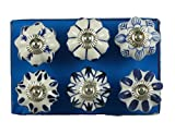 Jaipur Market 6 hilos tirador decorativo pomos de cerámica azul y blanco