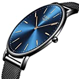 LIGE Relojes Hombre Negro Ultrafino Acero Inoxidable Reloj Moda Simple Reloj Hombre Negocios Analógico Cuarzo Relojes