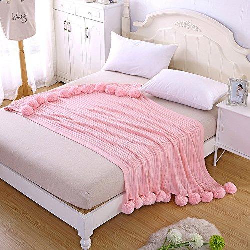 Lenzuola–super soft fluffy warm per divano–coperta di lusso in microfibra 100x 120/100x 150cm con cotone palle nappa per ufficio aria condizionata coperta divano coperta, rosa, 100*150cm
