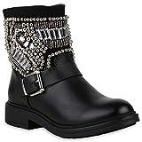 Stiefelparadies Damen Schuhe Stiefeletten Leicht Gefütterte Stiefel Biker Boots Strass 147556 Schwarz Stone Berkley 40 Flandell