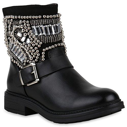 Stiefelparadies Damen Schuhe Stiefeletten Leicht Gefütterte Stiefel Biker Boots Strass 147556 Schwarz Stone Berkley 40 Flandell (Strass Damen Stiefel)