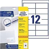 Avery Zweckform 4781 Adressaufkleber A4 (mit ultragrip, 97x42,3 mm, 30 Blatt, Papier matt, bedruckbare, selbstklebende Adressetiketten, 360 Klebeetiketten) weiß