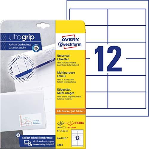 Adressaufkleber A4 (mit ultragrip, 97x42,3 mm, 30 Blatt, Papier matt, bedruckbare, selbstklebende Adressetiketten, 360 Klebeetiketten) weiß ()