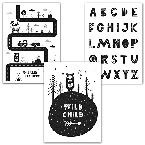 Frechdax® 3er-Set Kinderzimmer Babyzimmer Poster DIN A4 ohne Bilderrahmen | Mädchen Junge | Kinderposter Kunstdruck im skandinavischen Stil | schwarz/weiss oder bunt | Set-05