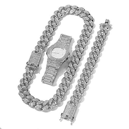 Hip-Hop-High-End-Full-Diamond-Uhr, vergoldete Halskette Armbanduhr Schmuck Männer und Frauen dreiteilige Ornament Geschenk (Gold, Silber, Rotgold)-Silver