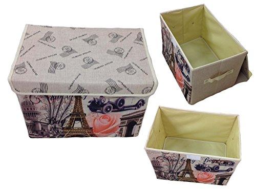 GMMH Aufbewahrungsbox mit Deckel Lein Paris Rom England London Kiste Organizer (Paris)