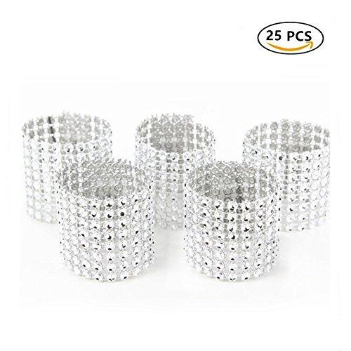 25 Stück Bling Strass Serviette Ringe Wölbung Hotel Hochzeit Party Supplies (Silber) (Preiswerte Diamant-ringe)