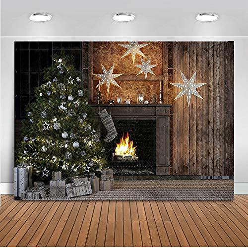 Mehofoto Weihnachtsfest-Kulisse Kamin Weihnachtsdeko Box Twinkle Star Foto Kulissen 7x5ft Jahrgang Cottage Weihnachtsdekoration Fotografie Hintergrund - Fotografie Cottage