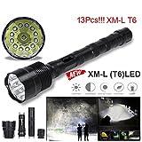 TopTen Fan-Motive LED Taktische Taschenlampe, 13000Lumen 13x T65Modi Super Hell Wasserdicht-Camping Licht für Angeln Jagd Wandern und Outdoor Aktivitäten