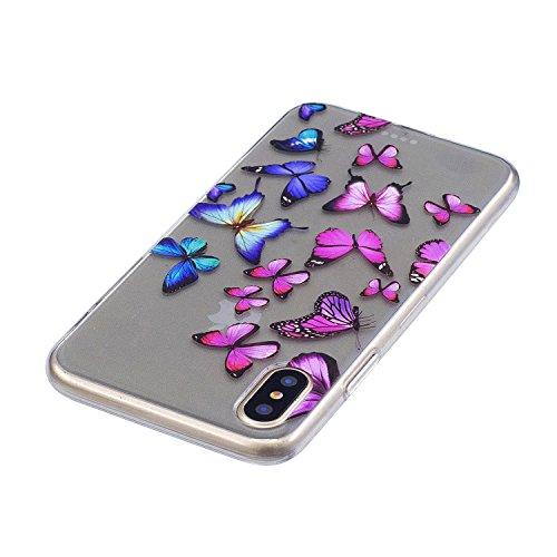 Hülle für Apple iPhone X , IJIA Transparent Bunt Schmetterling TPU Weich Silikon Stoßkasten Cover Handyhülle Schutzhülle Handytasche mit 360 Grad Drehung Finger Ring Case Tasche für Apple iPhone X (5. FD56