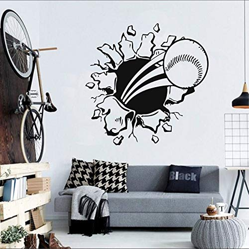 3D Flying Fire Baseball scoppiando attraverso la parete Arte murale Vinile impermeabile Adesivi murali Decor Nursery Decal Sticker 57X57cm