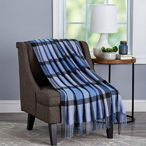 Bedford Home Oversized Vintage Look Woven Acrylic Faux Cashmere-Feel Plaid Throw - Breathable and Machine Washable (Night Shadow Faux Cashmere
