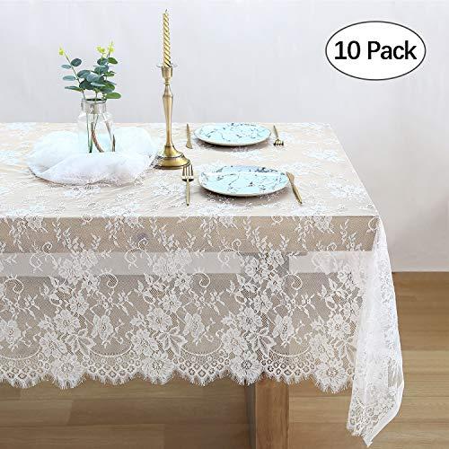 QueenDream 10er Pack weiße Spitze Tischdecken Küche Tischdecken für rechteckige Tische Größe 152,4 x 120 für Party Bankett Essen Hochzeit Dekorationen (Halloween Tisch Essen)