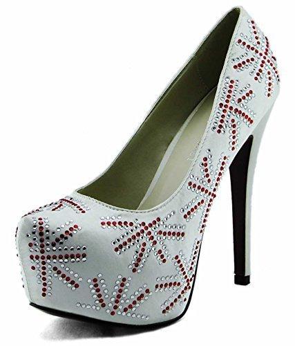 Sandaletten Damen Mit Absatz Pumps Damen-Plattform-Absatz Perlen Entwerfer Diamante Größe 3 -8 Stil 3 - Elfenbein