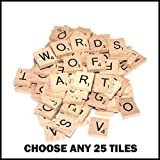 25 Wooden Scrabble Tiles of Your Choice (pick 'n' mix) INCLUDES A FREE KEYRING WITH YOUR INITIAL