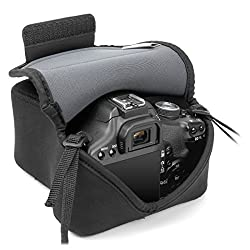 DSLR Camera Protection Case Sleeve Bag with Bump Resistant Neoprene by USA Gear - Works With Nikon D7200 D5500 D750 and More Digital SLR Cameras