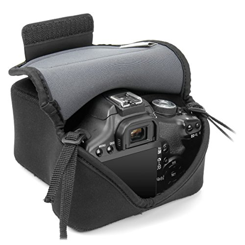 Accessory Power USA Gear DSLR Neoprene FlexSleeve - Funda para cámara digital, estuche semipermeable para cámara reflex / bolsa protectora DSLR para Nikon D3300 D750 D5300 D5500 Canon EOS 1300D 100D 700D 750D Pentax K50 , accesorios y más, color negro