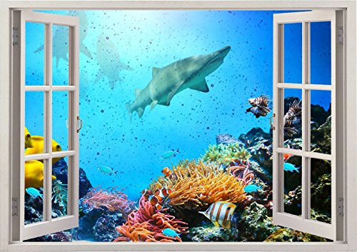 3D-Wandbild Geöffnetes Fenster - großformatig aus hochwertigem Vinyl - wiederverwendbar - Poster Blick aus dem Fenster - Wandtattoo Badezimmer Wohnzimmer - 3D Fototapete Hai Ozeanhai 85 x 115 cm