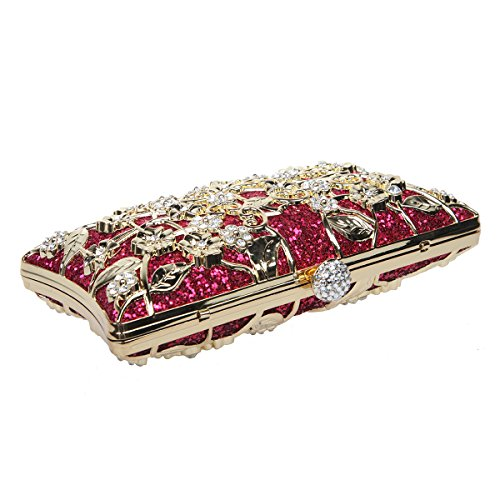 Bonjanvye Shining Metallic Floral Clutch Bags for Girls Handbags Purses Rose Gold Fuchsia