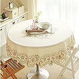Eanshome Runden Beige Tischdecke Tischtuch elegant praktisch pflegeleicht fleckgeschützt Durchmesser 150cm
