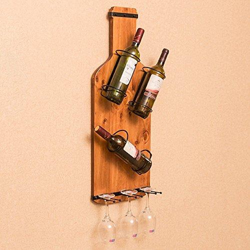 Weinregalen Meiduo Holz Halter zur Wandmontage mit Hängenden Glas Speicher, Um ccompliment Jeden Raum B (Holz-speicher-warenkorb)