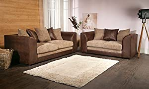 Dylan Byron Brown and Beige Fabric Sofa Settee Couch 3+2 Seater by Furniture Stop