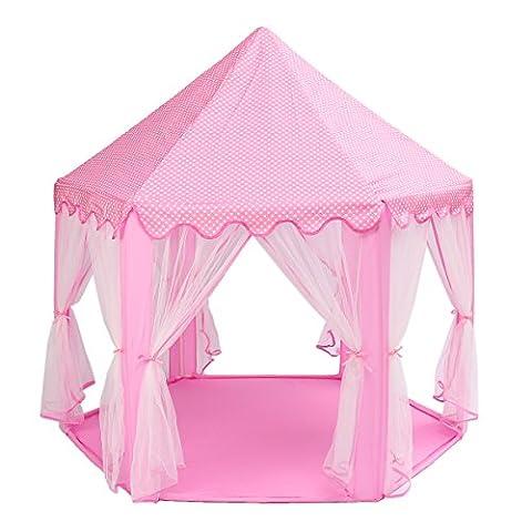 Tente de Jeux pour Enfants MECO Princesse Pop Up Chateau Château Tente de Princesse Idéal en Intérieur et Extérieur Anti-moustiques 3 couleurs aux choix Cadeau d'Anniversaire, de Noël,…