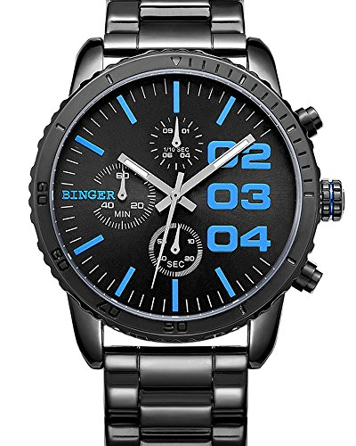 Binger Nero Blu quarzo uomo cronografo Visualizza in acciaio inox orologio da polso impermeabile