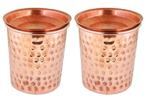 Dinner Glasses Set Pure Copper Hammered Cups Drinkware Accessories, Set of 2, Height 9.5 Cm